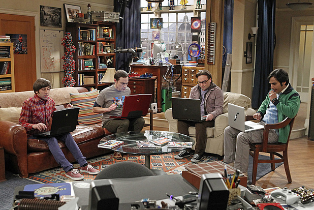Johnny Galecki as Leonard, Jim Parsons as Sheldon, Simon Helberg as Howard and Kunal Nayyar as Raj in The Big Bang Theory: 'The Convention Conundrum'