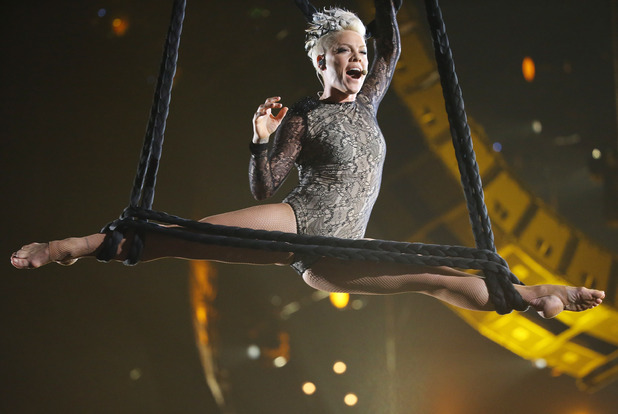 LOS ANGELES, CA - JANUARY 26: Pink performs onstage during the 56th GRAMMY Awards held at Staples Center on January 26, 2014 in Los Angeles, California. (Photo by Michael Tran/FilmMagic)