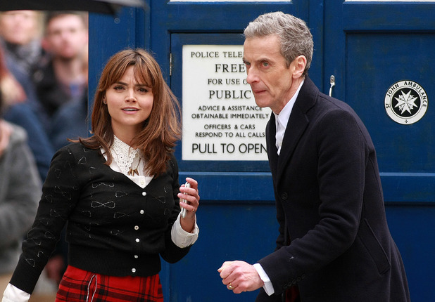 'Doctor Who' TV series filming, Cardiff, Wales, Britain - 28 Jan 2014 Jenna-Louise Coleman and Peter Capaldi 28 Jan 2014