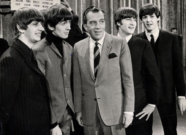 Ed Sullivan With The Beatles Ringo Starr George Harrison (died November 2001) John Lennon (died December 1980) And Paul Mccartney On The Set Of The Ed Sullivan Show. 1964