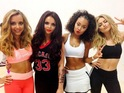 Little Mix on the set of the 'Word Up' music video.
