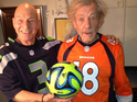 British actors pose in team jerseys with a 'football' ahead of Sunday's game.