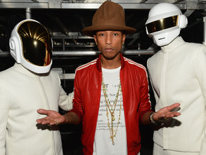 Daft Punk and  Pharrell Williams at the Grammy Awards