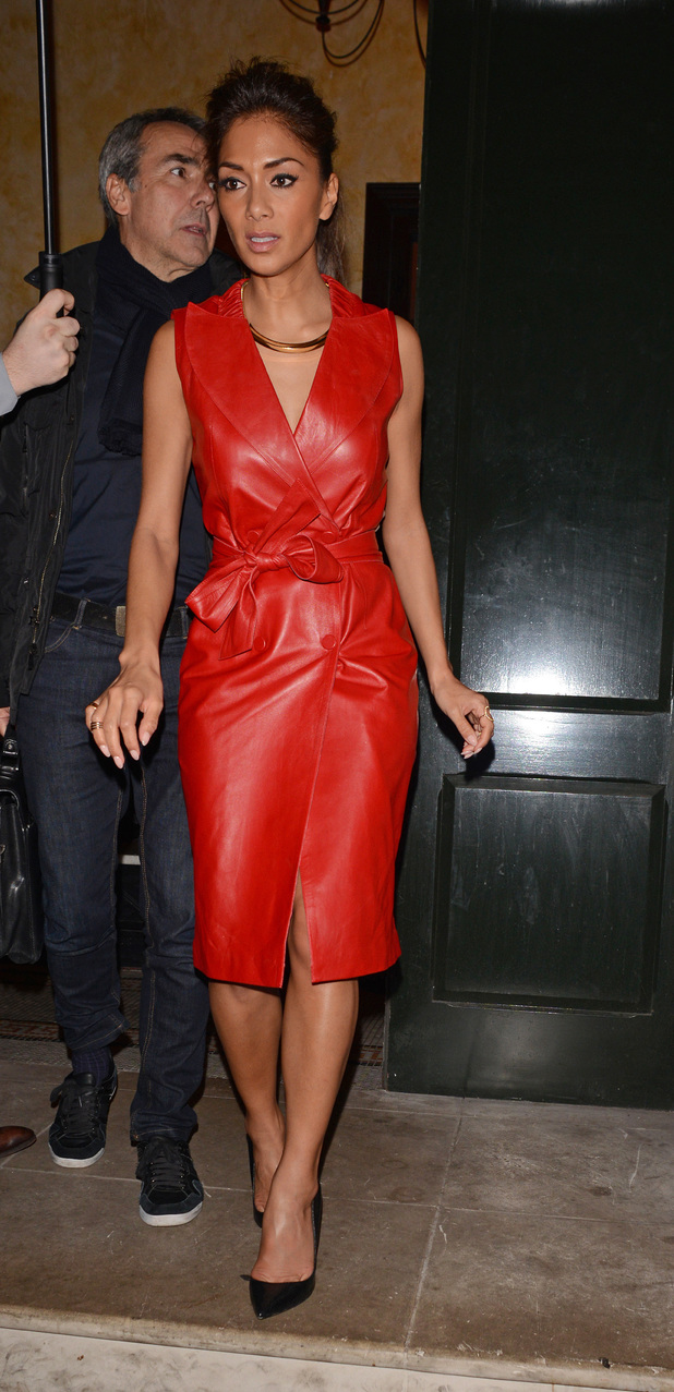 Nicole Scherzinger pictured attending a private dinner organized by Sony Music. Also at the venue was producer LA Reid.