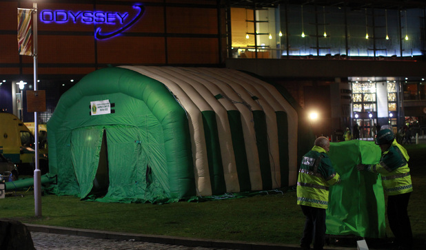 A medical tent outside the Odyssey Arena in Belfast, as up to 60 young people attending at concert there became ill.