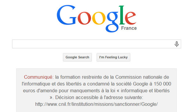 Google France notice of privacy law breach