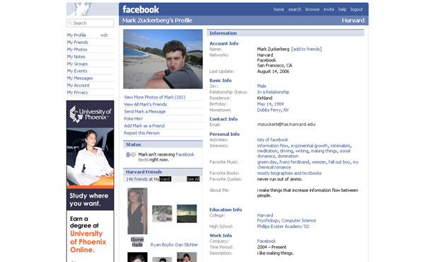 Mark Zuckerberg's 2006 profile page