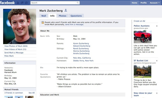 One of Facebook's earlier profile layouts