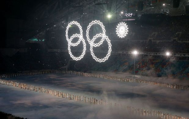 The Olympic rings, as one fails to open, during the Opening Ceremony for the 2014 Sochi Olympic Games in Sochi, Russia.