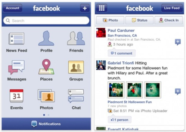 The first Facebook iPhone app