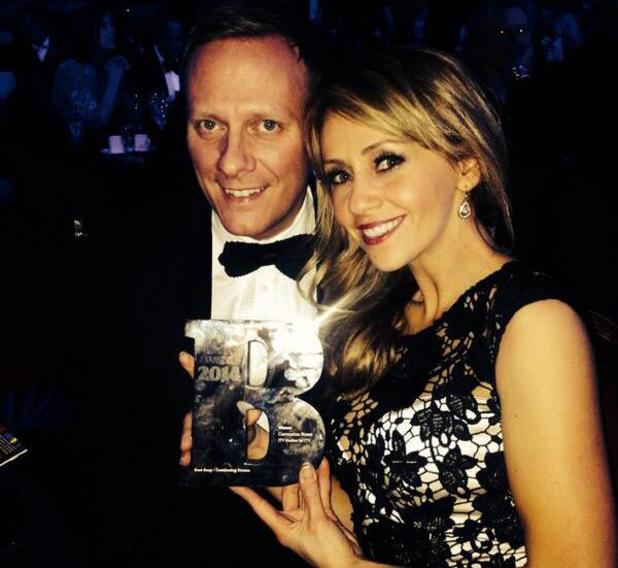 Samia Ghadie, Antony Cotton with Coronation Street's Best Soap trophy at Broadcast Awards 2014