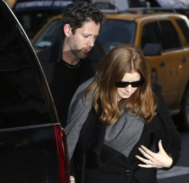 Amy Adams and her fiancé Darren Le Gallo attends the wake of Philip Seymour Hoffman