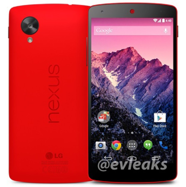 Red model of Google's Nexus 5 smartphone