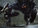 Four hunters fight one giant monster in the Evolve intro cinematic.