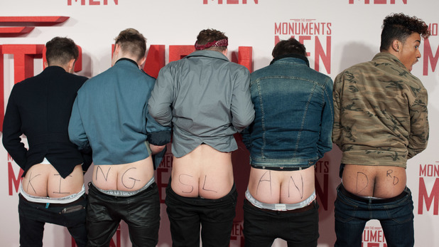 Kingsland Road flash their bottoms at Monuments Men premiere