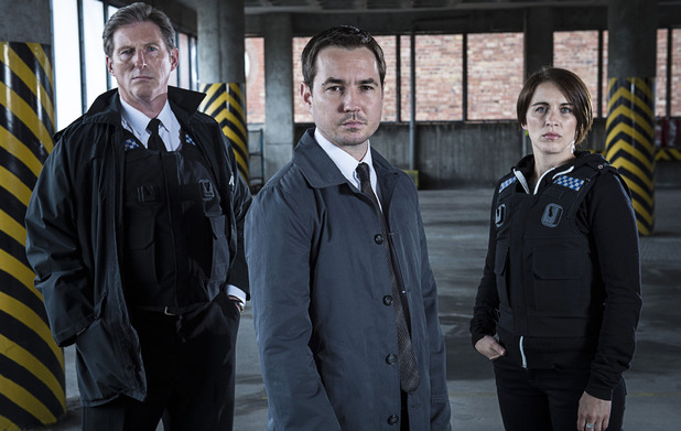 Adrian Dunbar as Superintendent Ted Hastings, Martin Compston as Detective Sergeant Steve Arnott & Vicky McClure as Detective Constable Kate Fleming in Line of Duty