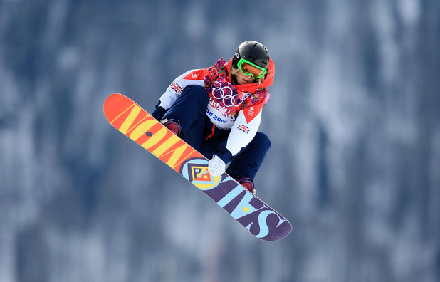 Jenny Jones in her first run of the Ladies' Snowboard Slopestyle Semi Finals at the Extreme Park during the 2014 Sochi Olympic Games