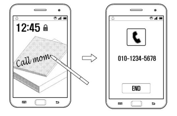 Samsung patent for a handwriting recognition technique