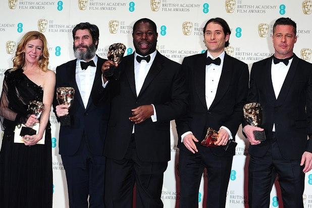 Dede Gardner, Jeremy Kleiner, Steve McQueen, Anthony Katagas, Brad Pitt, BAFTAs 2014,