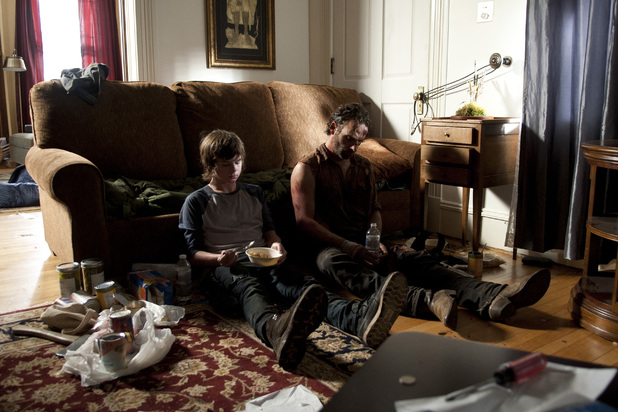 Chandler Riggs as Carl & Andrew Lincoln as Rick Grimes in The Walking Dead Season 4 Episode 9: 'After'