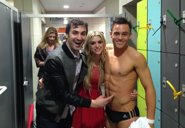 Splash! final and wrap party: Anna and friends with Tom Daley in the shower