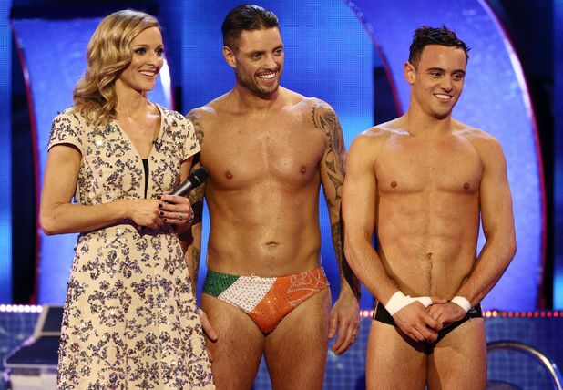 Gabby Logan with Keith Duffy after his dive with Tom Daley