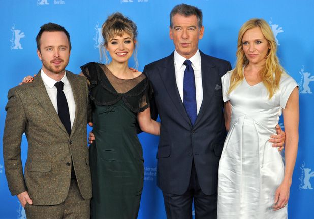Aaron Paul, Imogen Poots, Pierce Brosnan, Toni Collette, A Long Way Down photocall at Berlin Film Festival