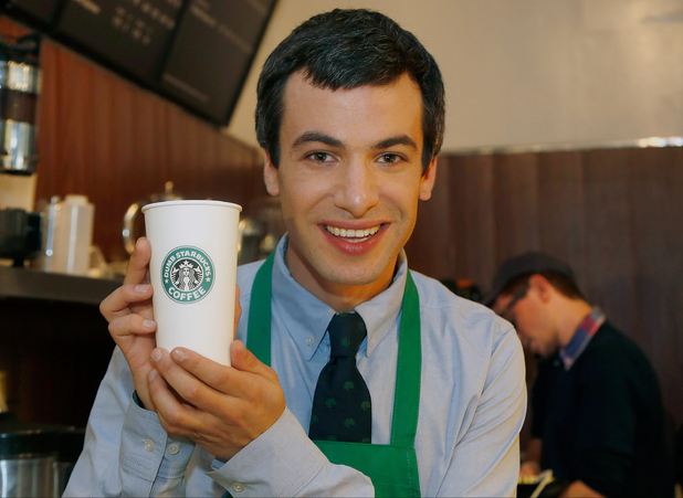 Nathan Fielder poses at Dumb Starbucks coffee
