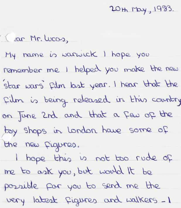 Warwick Davis's childhood letter to George Lucas