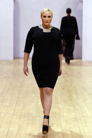 LONDON, UNITED KINGDOM - FEBRUARY 14: Hayley Hasselhoff walks the runway at the British Plus size Fashion Weekend show during London Fashion Week AW14 at Vinopolis on February 14, 2014 in London, England