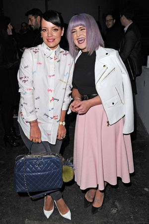 House of Holland show, Autumn Winter 2014, London Fashion Week, Britain - 15 Feb 2014 Lily Allen and Kelly Osbourne