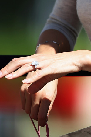 Jessica Michibata wearing an engagement ring in Bahrain