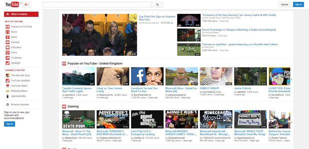 YouTube's centre-aligned redesign