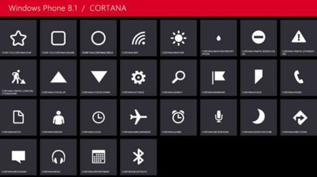 Windows Phone 8.1's Cortana icon set