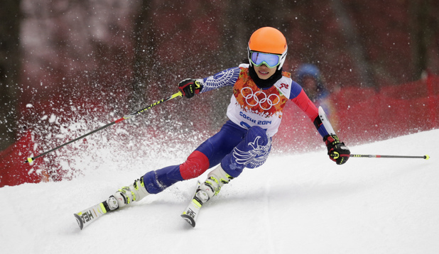 Vanessa Mae in the first run of the women's giant slalom at the Sochi 2014 Winter Olympics