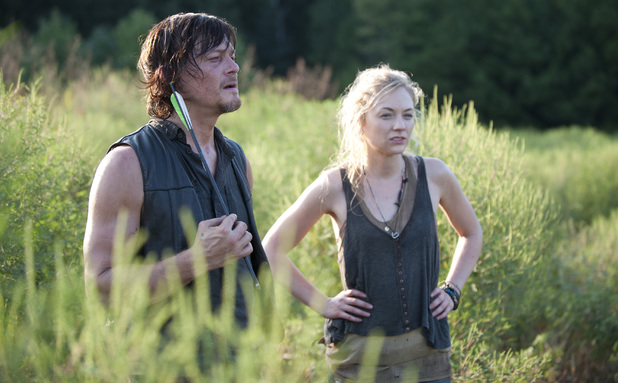 Daryl Dixon (Norman Reedus) and Beth Greene (Emily Kinney) in The Walking Dead season 4 episode 10: 'Inmates'