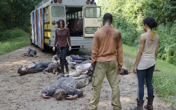 Maggie Greene (Lauren Cohan), Bob Stookey (Larry Gilliard Jr.) and Sasha (Sonequa Martin) in The Walking Dead season 4 episode 10: 'Inmates'