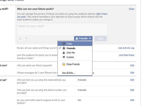 Facebook controls
