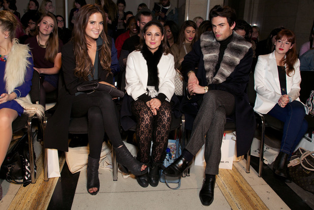 Ong-Oaj Pairam catwalk show, Fashion Scout, London Fashion Week, Britain - 14 Feb 2014 Binky Felstead, Louise Thompson and Mark Francis
