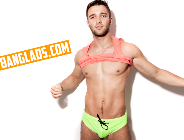 Magaluf Weekender Star Tobi Jasicki poses as part of the Banglads campaign