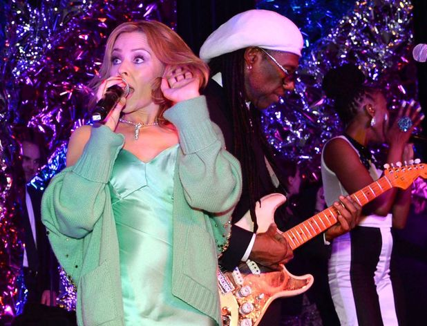 Kylie Minogue and Nile Rodgers at the Warner Music Group And Belvedere Brit Awards After Party at The Savoy Hotel