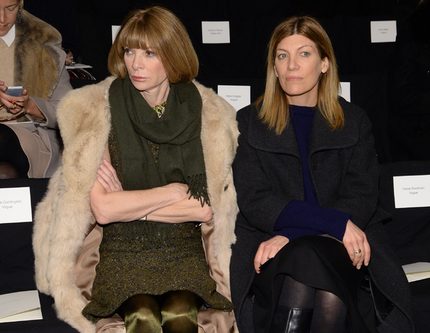 NEW YORK, NY - FEBRUARY 10: Anna Wintour (L) and Victoria Smith attend the Carolina Herrera fashion show during Mercedes-Benz Fashion Week Fall 2014 at The Theatre at Lincoln Center on February 10, 2014 in New York City. (Photo by Larry Busacca/Getty Images for Mercedes-Benz Fashion Week)