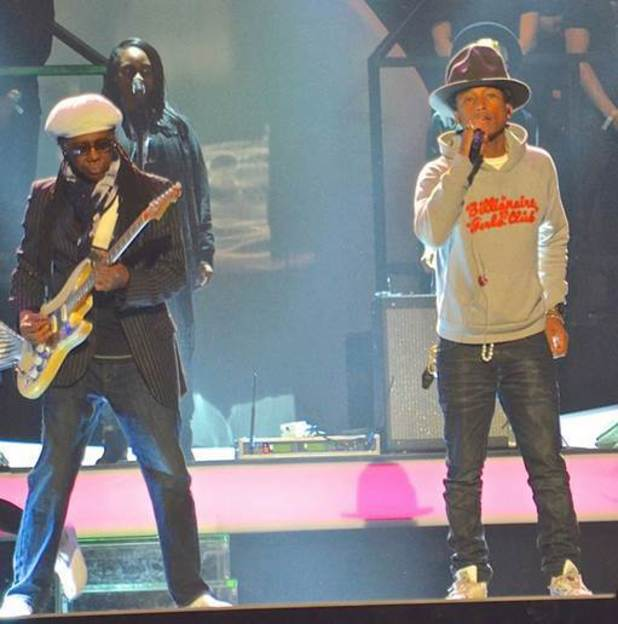 Pharrell Williams, Nile Rodgers rehearse from Brit Awards 2014