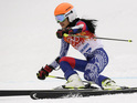 Violinist representing Team Thailand is slowest of 67 athletes to complete the Giant Slalom.