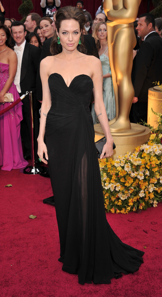 81st Annual Academy Awards Arrivals, Los Angeles, America - 22 Feb 2009 Angelina Jolie OSCAR OSCARS ELIE SAAB BLACK SWEETHEART STRAPLESS GATHERED CHIFFON FLOOR DRESS MATERIAL