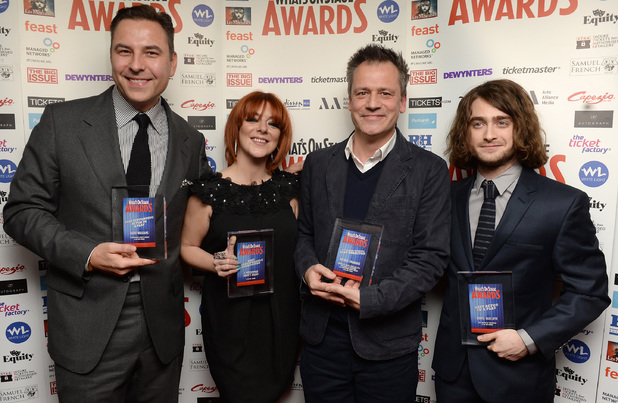 David Walliams with the award for Best Supporting Actor in a Play, Sheridan Smith with the award for Best Shakespearean Production, Michael Grandage with the award for Best Director and Daniel Radcliffe with the award for Best Actor in a Play during the What'sOnStage Awards at the Prince of Wales Theatre