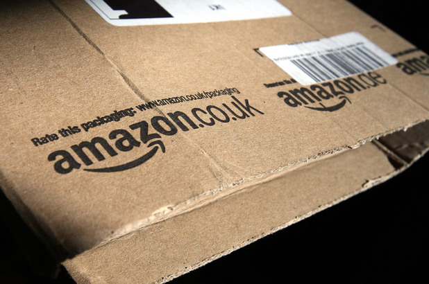 Amazon logo on a package