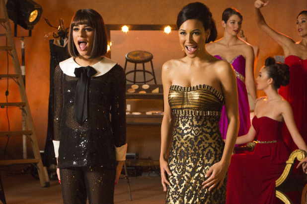 Naya Rivera as Santana & Lea Michele as Rachel in Glee S05E09: 'Frenemies'