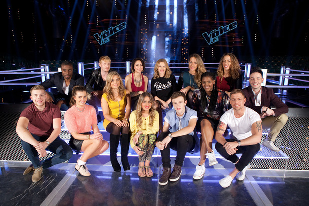 Kylie Minogue with her team on The Voice