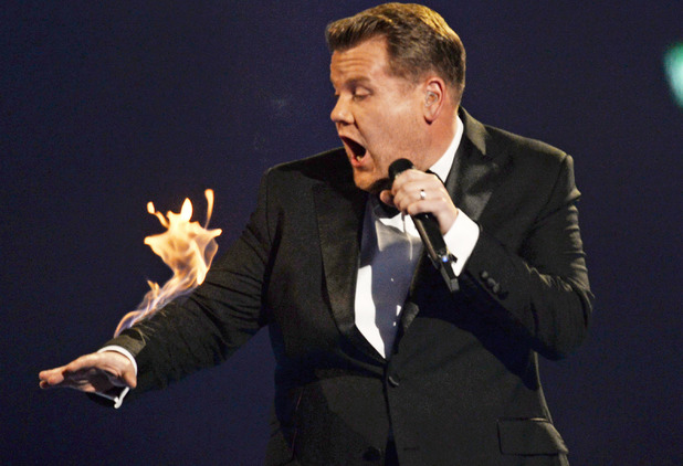 James Corden on fire at the Brit Awards